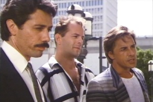 "Tough Guys Edward James Olmos, Bruce Willis, and Don Johnson.  Olmos Later caught hell from the Mexican Mafia for his portaryal of that organization in his film, ""America Me."""