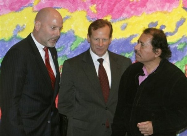 Nicaragua's President Daniel Ortega, right, U.S. DEA regional director David Gaddis, center, U.S. Drug Enforcement Administration chief of operations Michael Braun, speak during a meeting in Managua, Monday, Feb. 4, 2008.