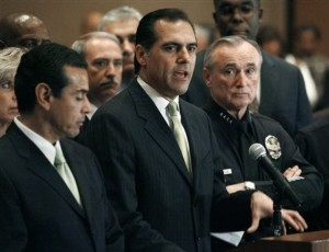 It Was Personal With Los Angeles City Attorney Rocky Delgadillo (Center) -- Avenues Gangsters Harassed Him as a Kid. Delgadillo is Flanked by Mayor Antonio Villaraigosa and Police Chief William Bratton