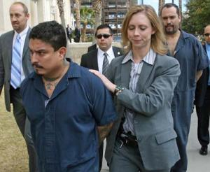 Perp Wal in El Paso -- FBI Agents Walked Barrio Azteca Gang Members Jose Martin Garcia (foreground) and John Michelleti (Rear) to U.S. Federal Courthouse from El Paso County Jail.  Michelleti Cut Deal, Flipped, and Testified Against His Carnales