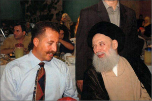 Nada Prouty's brother-in-law Talal Chahine sitting in a place of prominence to the right of Hezbollah Spiritual Leader Sheikh Modhammed Fadlallah, who issued the fatwa authorizing the Marine Corps barracks bombing of October 1983. At the time of the above photos, Prouty was a FBI Special Agent.  (Caption and photo from Centre