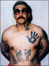 "Rene ""Boxer"" Enriquez in His Gangster Days:  Black Hand Tattoo Symbolizes Meixan Mafia, ""Arta"" Was His Local Gang"